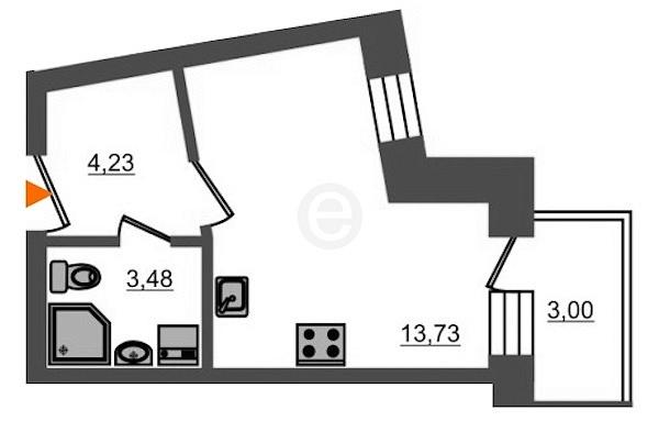Студия, 22 кв.м., за 3489000 рублей, Пушкинский, ул. Образцовая, д. 5