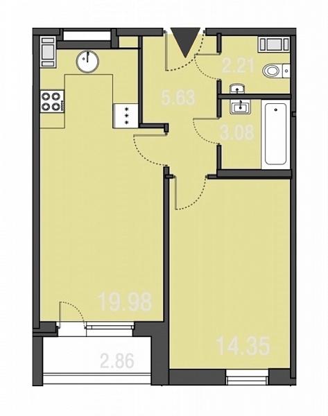 1-к квартира, 45 кв.м., за 13800000 рублей, Курортный, ул. М. Горького, д. 2Ас2