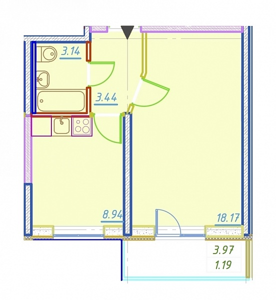 1-к квартира, 34 кв.м., за 5800000 рублей, Приморский, ул. Парашютная, д. 42