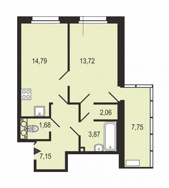1-к квартира, 45 кв.м., за 6487525 рублей, Приморский, ш. Суздальское
