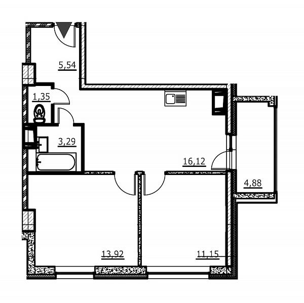 2-к квартира, 53 кв.м., за 5703914 рублей, Невский, ул. Евдокима Огнева