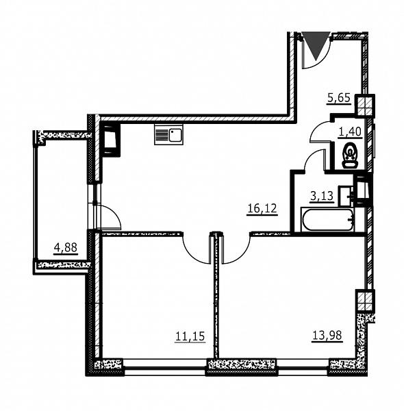 2-к квартира, 53 кв.м., за 5710274 рублей, Невский, ул. Евдокима Огнева
