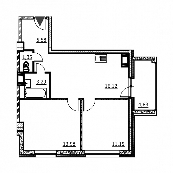 2-к квартира, 53 кв.м., за 5714514 рублей, Невский, ул. Евдокима Огнева