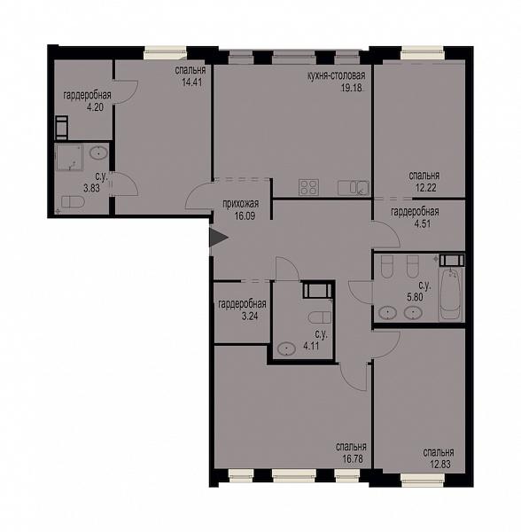 4-к квартира, 117 кв.м., за 37504000 рублей, Московский, пр-кт Московский