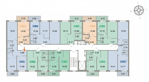2-к квартира, 57 кв.м.