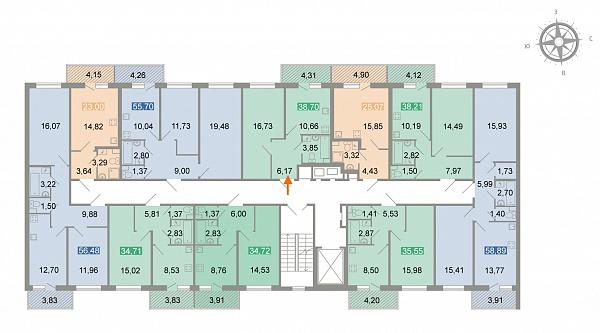 1-к квартира, 39 кв.м.