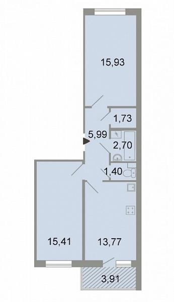 2-к квартира, 59 кв.м., Петергофское шоссе, 86к3