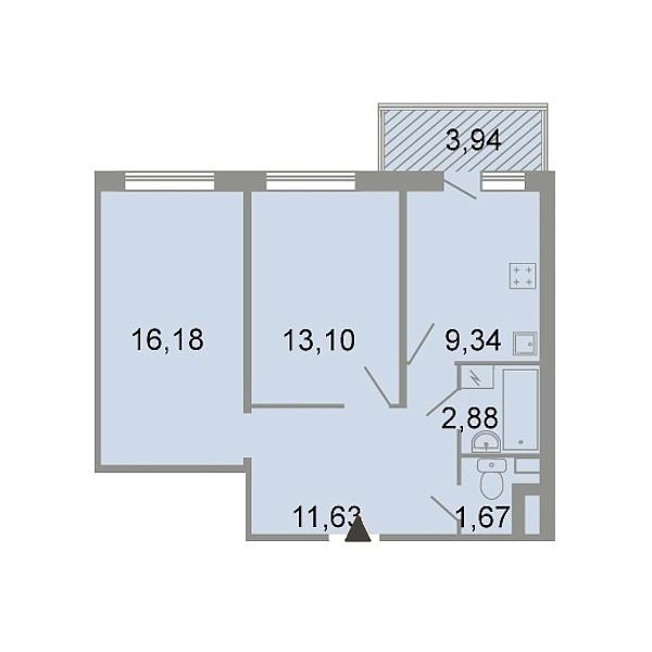 2-к квартира, 56 кв.м., Петергофское шоссе, 86к3