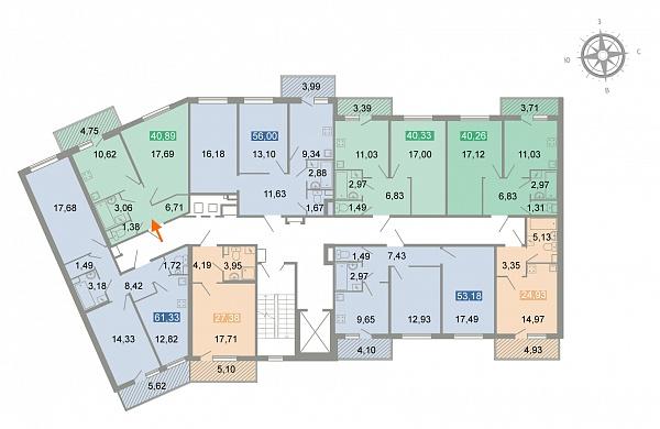1-к квартира, 41 кв.м.