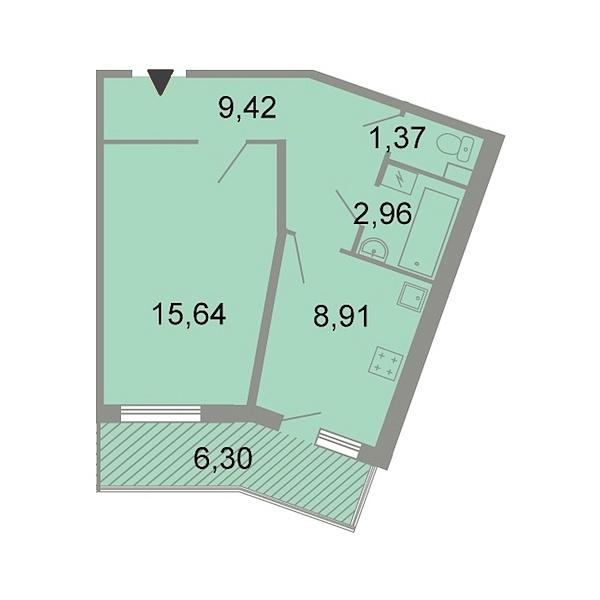 1-к квартира, 40 кв.м., Петергофское шоссе, 86к3