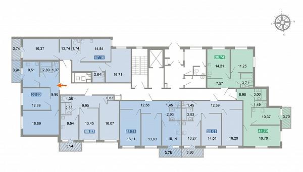 2-к квартира, 61 кв.м.