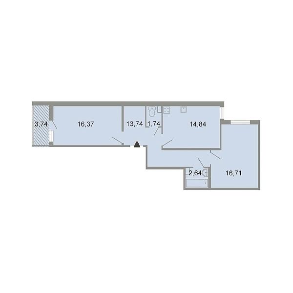 2-к квартира, 67 кв.м., Петергофское шоссе, 86к3