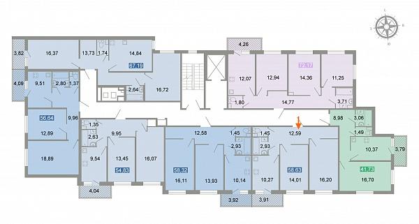 2-к квартира, 58 кв.м.