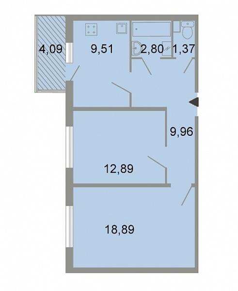 2-к квартира, 60 кв.м., Петергофское шоссе, 86к3