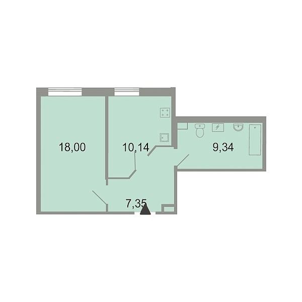 1-к квартира, 45 кв.м., Петергофское шоссе, 86к3
