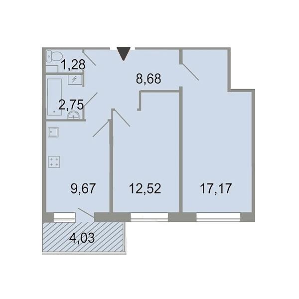 2-к квартира, 54 кв.м., Петергофское шоссе, 86к3