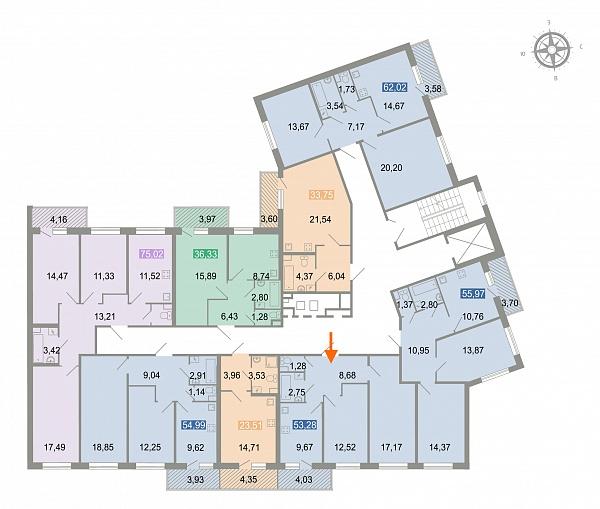2-к квартира, 54 кв.м.