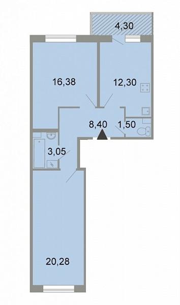 2-к квартира, 63 кв.м., Петергофское шоссе, 86к3