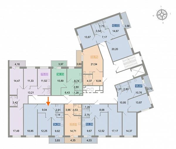 2-к квартира, 56 кв.м.