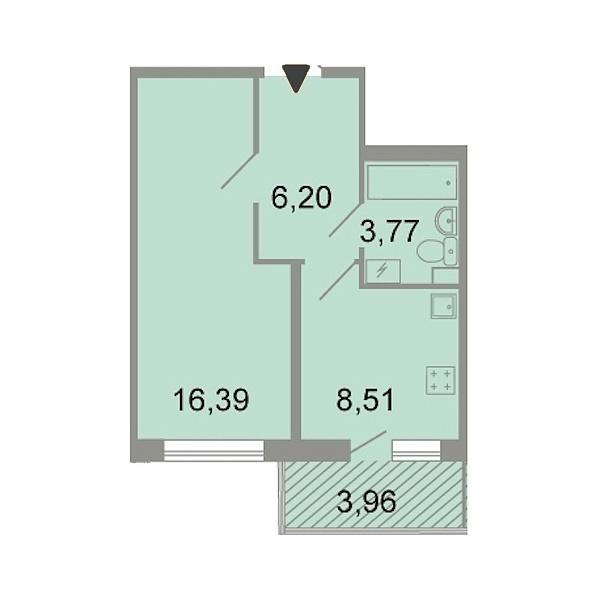 1-к квартира, 36 кв.м., Петергофское шоссе, 86к3
