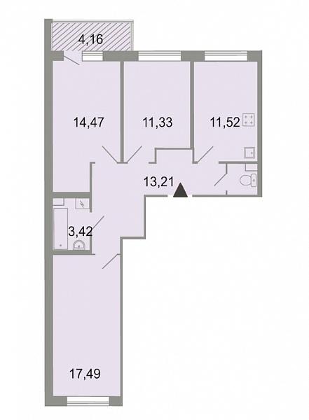 3-к квартира, 75 кв.м., Петергофское шоссе, 86к3