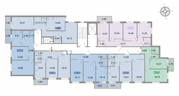 2-к квартира, 63 кв.м.