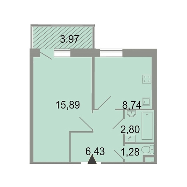1-к квартира, 37 кв.м., Петергофское шоссе, 86к3