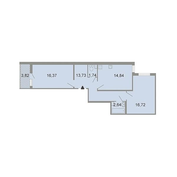 2-к квартира, 67 кв.м., Красносельский, ш. Петергофское, д. 86