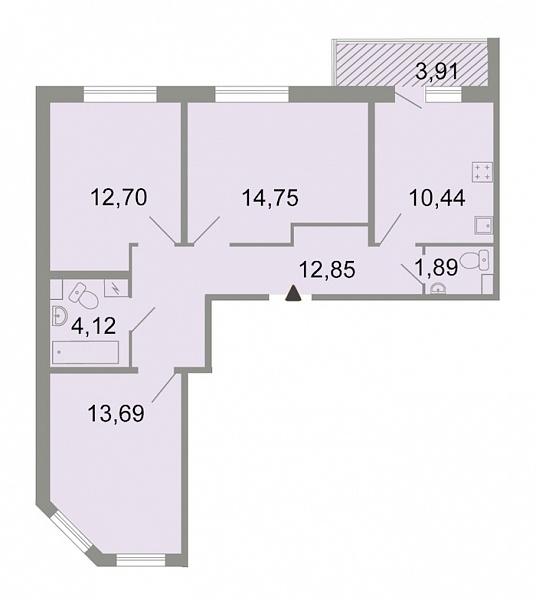 3-к квартира, 72 кв.м., Красносельский, ш. Петергофское, д. 86