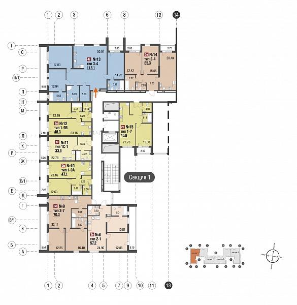 3-к квартира, 118 кв.м.