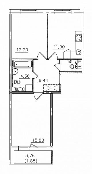 2-к квартира, 54 кв.м., Шведский проезд, 1