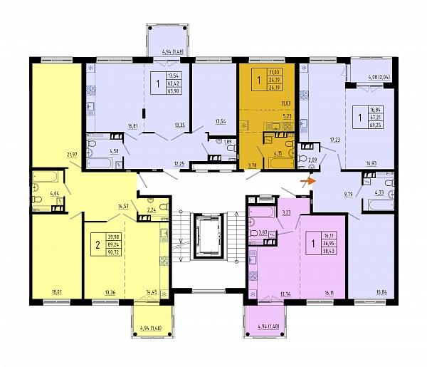 1-к квартира, 67 кв.м.