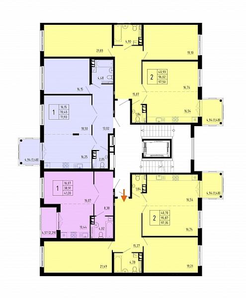 2-к квартира, 96 кв.м.