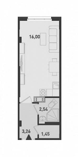 Студия, 23 кв.м., за 2046000 рублей, ул. Шоссе в Лаврики