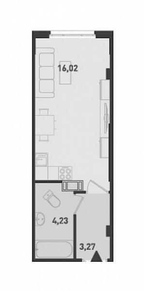 Студия, 23 кв.м., за 2069760 рублей, ул. Шоссе в Лаврики
