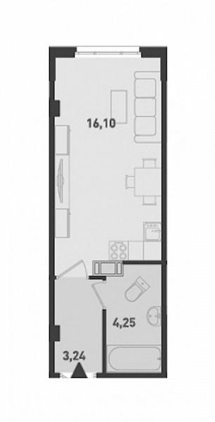 Студия, 23 кв.м., за 2075920 рублей, ул. Шоссе в Лаврики