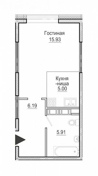 Купить Студия  площадью: 33.03 кв.м, рядом c метро Василеостровская