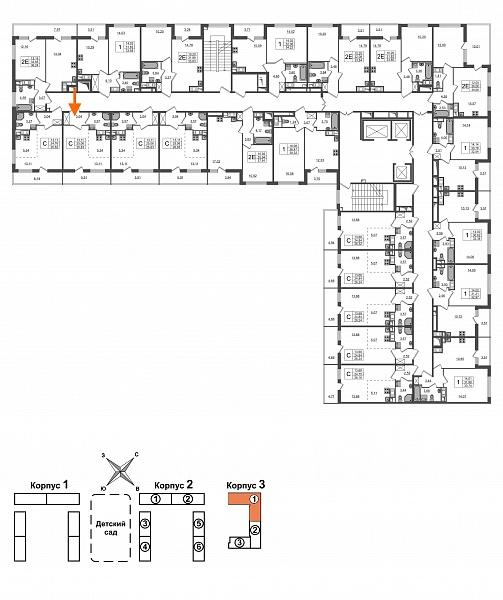 Купить Студия  площадью: 25.06 кв.м, рядом c метро Проспект Большевиков