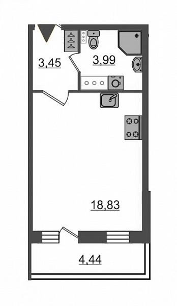 Купить Студия  площадью: 25.4 кв.м, рядом c метро Звездная