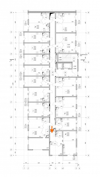 2 комнатная квартира  площадью: 54.83 кв.м