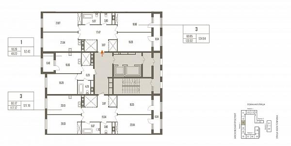 3 комнатная квартира  площадью: 124.93 кв.м