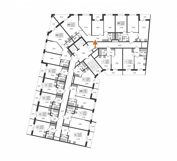 4 комнатная квартира  площадью: 84.7 кв.м