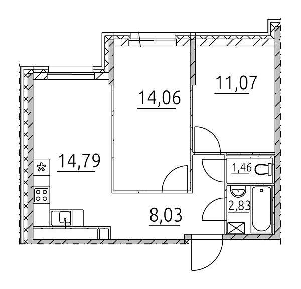2 комнатная квартира  площадью: 52.24 кв.м