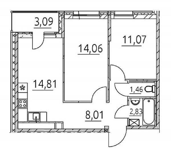 2 комнатная квартира  площадью: 55.33 кв.м