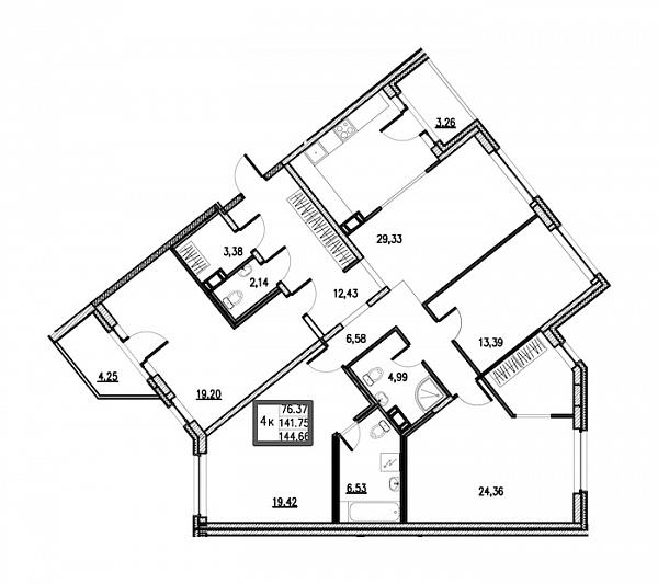 4 комнатная квартира  площадью: 144.66 кв.м