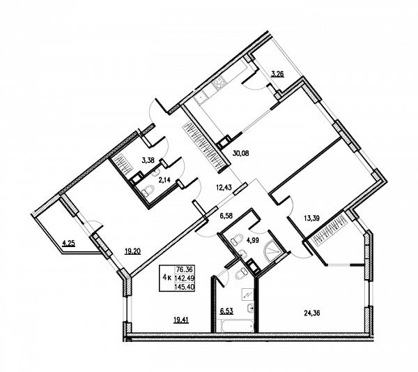 4 комнатная квартира  площадью: 145.4 кв.м