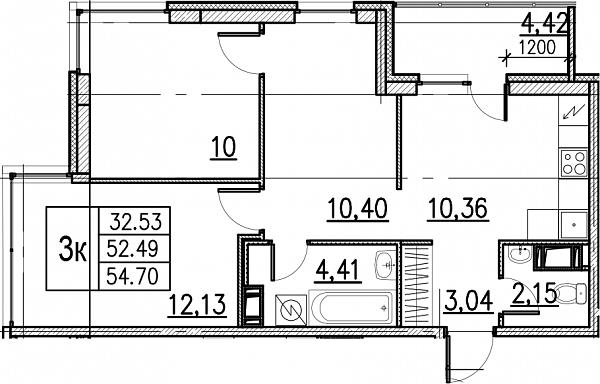 3 комнатная квартира  площадью: 54.7 кв.м