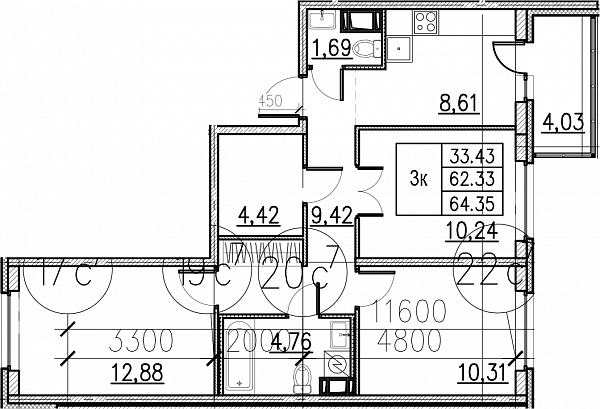3 комнатная квартира  площадью: 64.35 кв.м