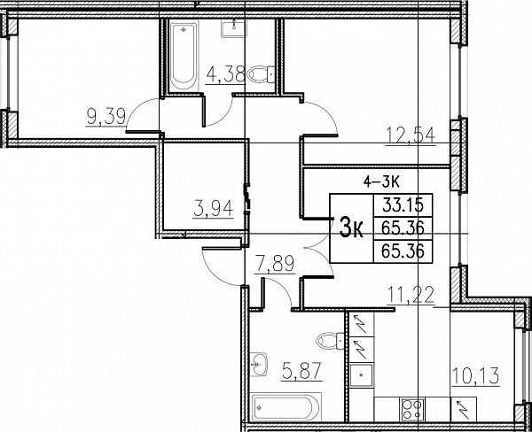 3 комнатная квартира  площадью: 65.36 кв.м