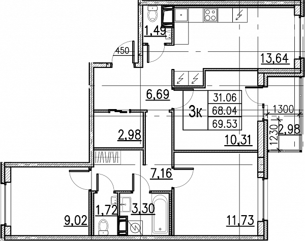 3 комнатная квартира  площадью: 69.53 кв.м